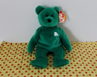 Ty Beanie Baby Erin Bear St. Patrick's Day emerald green with shamrock