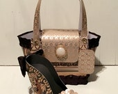 Black and Gold Paper Purse and High Heel Paper Shoe Set, Original Design, One of a Kind