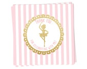 Ballerina, Ballet Party Favor Tags- Thank you for celebrating with me in pink and gold, Printable Favor Tags- Use as square or circle