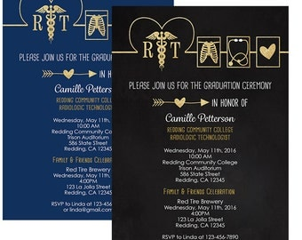 Respiratory Technology  Graduation Invitation, Black and Gold, Navy and Gold, Personalized with your info- Printed or Digital
