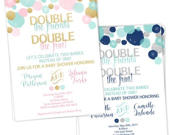 double baby shower invitation for a boy and a girl light teal pink and