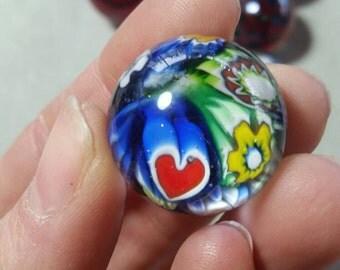 Valentine Heart Millifiore Marble Lampworked Implosion Murrini