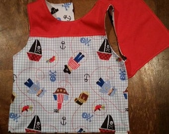WIPEABLE! Fits: 6m to 18m. Reversible, Adjustable Toddler Bib - Two-Tone Tank Top. Pirates & Crossbones. - Handmade in the PNW