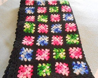 Cozy Classic GRANNY SQUARE Wool AFGHAN Vibrant Colors on Black, Handmade 1940s Crochet, Sofa Couch Throw, F D Q Bed Blanket Cover 58 x 76