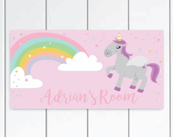 Personalized Unicorn Door Sign -  Unicorn Bedroom for girls ,Unicorn pink baby Nursery Decor, Unicorn Bedroom Decor, Unicorn Decor.