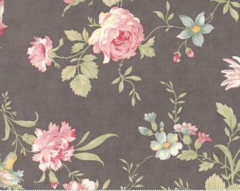 Poetry - Romantic Blooms in Charcoal by 3 Sisters for Moda Fabrics