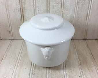 Vintage Ironstone Crock with Two Faces and Lid