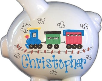Train piggy bank etsy personalized piggy bank with train design white blue large baby gift negle Gallery