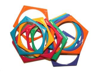 Set of 6 Vintage Bangle Bracelets - rainbow geometric pentagon 80s 90s bangle bracelets unique retro fashion
