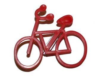 Vintage Red Bicycle Pin - vintage kitsch plastic red bike pin bicycle rider jewelry