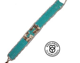 Wovenbracelet,turquoisebracelet, giftsforher, crossbracelet, rokcandyjewelry, bohobracelet,  nativeamericanbracelets, rokusabracelet