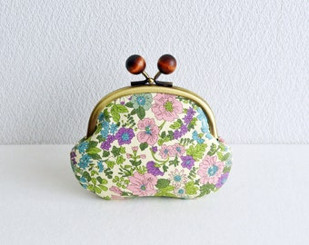 Liberty shabby chi floral coin purse - Purple, Green and Pink. Handmade in Japan. Frame purse with wooden balls.