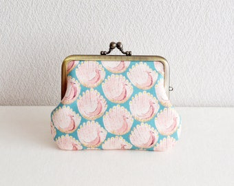 Cotton frame purse -Liberty - Peacocks - blue pink
