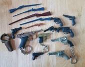 Assortment Vintage Toy Miniature Guns Keychains