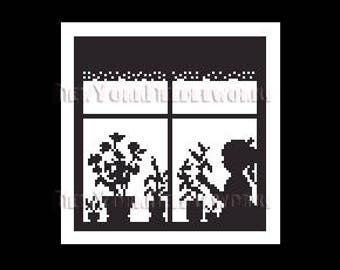 Girl Silhouette Pattern, Child Silhouette, Girl in Window, Cross Stitch Silhouettes, Children, Silhouettes from NewYorkNeedleworks on Etsy