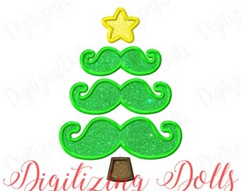 Mustache Christmas Tree Applique Machine Embroidery Design 4x4 5x5 6x6 5x7 8x8 6x10 7x12 moustache INSTANT DOWNLOAD