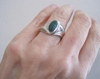 Vintage Sterling Malacite Artisan Ring