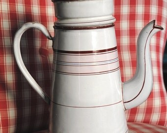 Antique Enameled  French COFFEE POT with PINK fillets