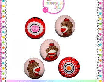 """7/8"""" SOCK MONKEY Kawaii Covered Button, Sewing Notion, Buttons, Brown Monkey Theme Buttons, Whimsical Buttons, Fabric Covered Shank Button"""