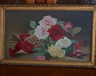 Antique Victorian Roses Oil Painting on Board Early 1900s Oil Painting of Pale Pink Red and White Roses Shabby Chic Decor