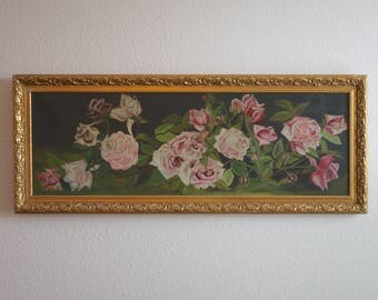 Antique Victorian Era Roses Oil Painting on Canvas Yard Long. Early 1900s Still Life of Pale Pink Roses with Antique Gesso Frame