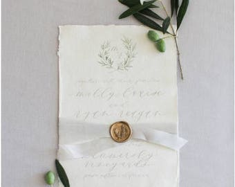 Calligraphy Wedding Invitation & Packages | Custom Calligraphy Wedding Wreath | Romantic Organic Handmade Paper Suite | Arcadian Style