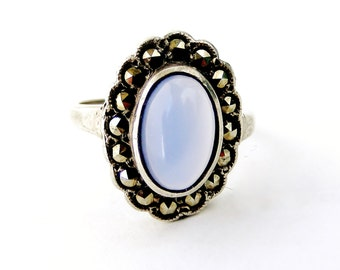 Vintage blue chalcedony sterling silver marcasite ring