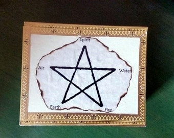 Pentagram Wiccan Upcycled Cigar Box