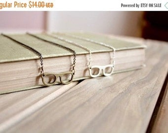 30% OFF CHRISTMAS SALE Small eyeglass charm necklace, silver tone or bronze, Four Eyes Are Better Than None