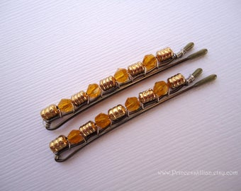 Beaded hair slides - Boho chic vintage inspired rustic yellow gold amber crystals girl embellish decorative fancy jeweled hair accessories