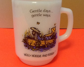 Holly Hobbie and Robby Anchor Hocking Milk Glass  Coffee Mug Gentle days and Gentle Ways vintage cup