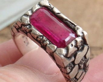 Ruby Ring Sterling Silver Pebble Texture Medieval Gents Men's Ring Artisan Made