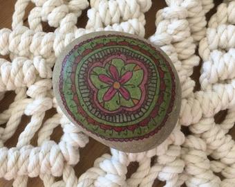 Spirit Stone Mandala Painted Stone Natural Rock Paperweight l