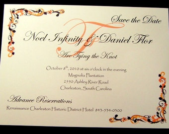 Fall Fanciful Save the Date Cards ~ Fully Printed and Customized
