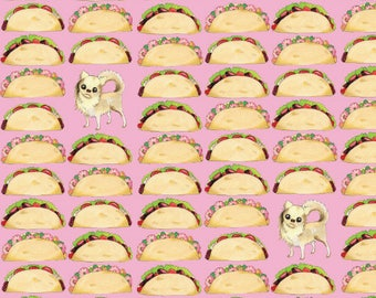 Tacos Chihuahua Wrapping Paper Sheet 20 x 29 Inches // Dog Lover Birthday Gift // Los Angeles // California