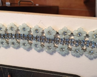 Fabulous 50s Rhinestone Bracelet - Prong Set throughout the middle strip - Charming Plastic Blue Flowers w Center Rhinestone.