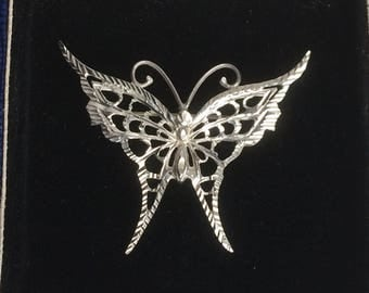 Vintage Art Deco Engraved Silver Butterfly Brooch