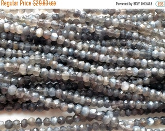 ON SALE 55% Grey Moonstone Micro Faceted Rondelle Beads, Grey Moonstone Israeli Beads, Moonstone Necklace, 4-4.5mm, 13 Inch Strand