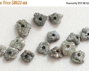 50% ON SALE WHOLESALE 4 Pcs Large Hole Grey Rough Diamond Beads, 1mm Drilled Grey Diamond, Loose Diamond, Conflict Free, 5-7mm