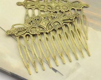 combs, hair combs, filigree flower combs, metal Hair Combs, 8pcs antique Bronze 10teeth hair combs, blank combs 64x48mm