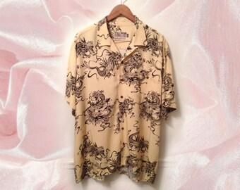 90s Cyber Goth Black White Dragon Print Oversize Rayon Short Sleeve Men's Shirt size XXL