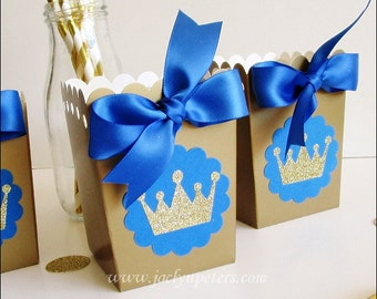 Royal Prince, Birthday Party Favors, Popcorn Boxes, Royal Blue & Gold Glitter Crown, Dessert Table Decoration, Boys Baby Shower,  Set Of 12