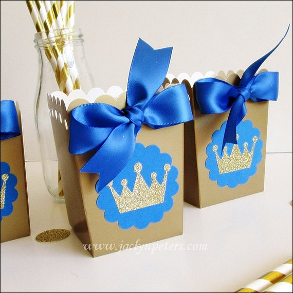Prince Baby Shower Favors: Royal Prince Birthday Party Favors Popcorn Boxes Royal Blue