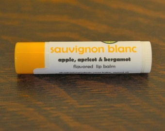 Sauvignon Blanc lip balm - apple, apricot and bergamot flavored lip balm - wine flavored lip balm - Sauvignon wine lip balm
