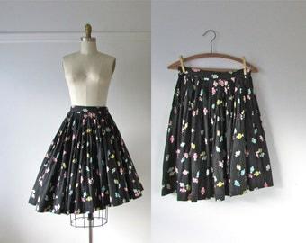 50s skirt / Penny Candy / 1950s print skirt
