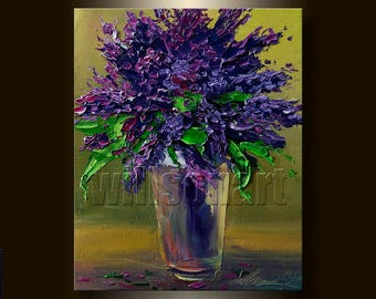 Original Modern Flower Lilac Blossoms Textured Palette Knife Oil Painting Contemporary Floral Art 8X10 by Willson Lau