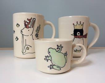Custom Order for Brooke - Two coffee mugs and a frog espresso - Jackalope Mug and Penguin in Crown Mug