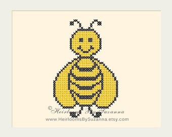 Machine Cross Stitch - Happy Bee - Machine Embroidery - Nature - Nursery Design - Cross Stitch Bee - PES - HBS-Happy Bee
