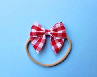 Mini Sailor Bow - Red Gingham