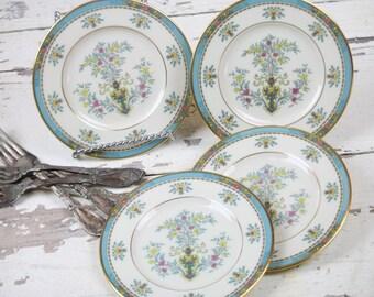 """Lenox Blue Tree Bread and Butter Plates set of 4 Gold Trim & Backstamp 6 3/8"""" Vintage"""